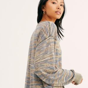 Free People Tiger Combo camo top